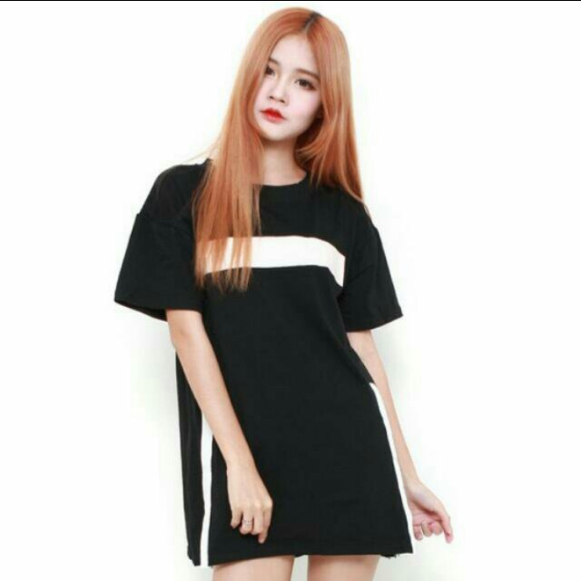 Brand New Zalora Rae Rum Big Dash T-Shirt Dress - Black   White Stripe  Minimalistic Oversized Tee Ulzzang  boxingdaysale e724e3fe1