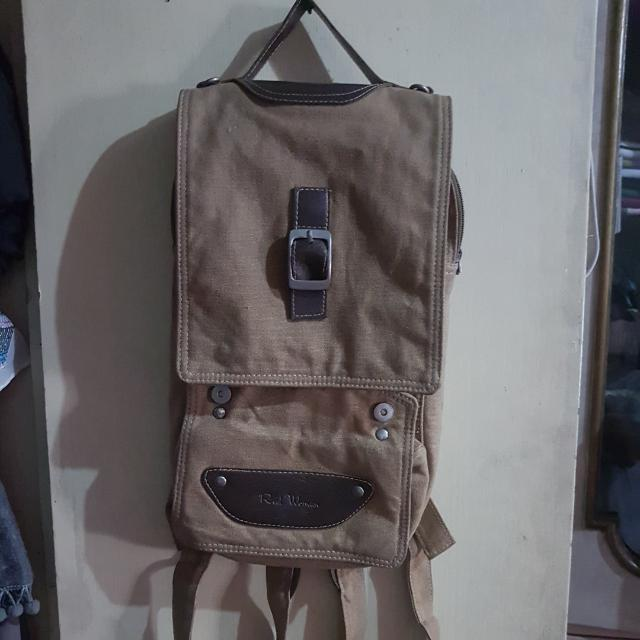 Brown canvass backpack