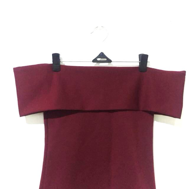 Burgundy Wine Blouse (off-shoulder cut)