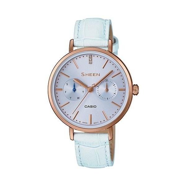CASIO 卡西歐 SHEEN 少女時代 施華洛世奇水晶皮帶腕錶/34mm/ SHE-3054PGL-2A