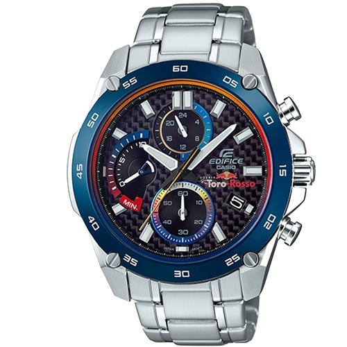 CASIO EDIFICE TORO ROSSO 聯名不鏽鋼錶-黑面X藍圈 (EFR-557TR-1A)限量