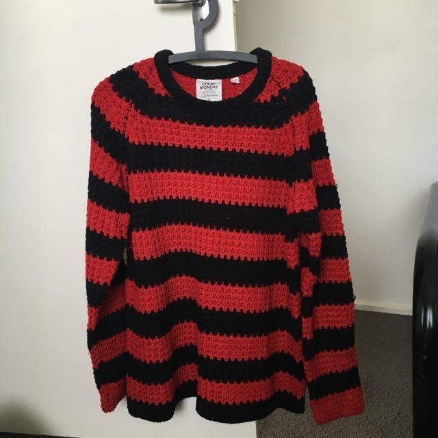 CHEAP MONDAY Zoom Strip Knit Sweater Jumper