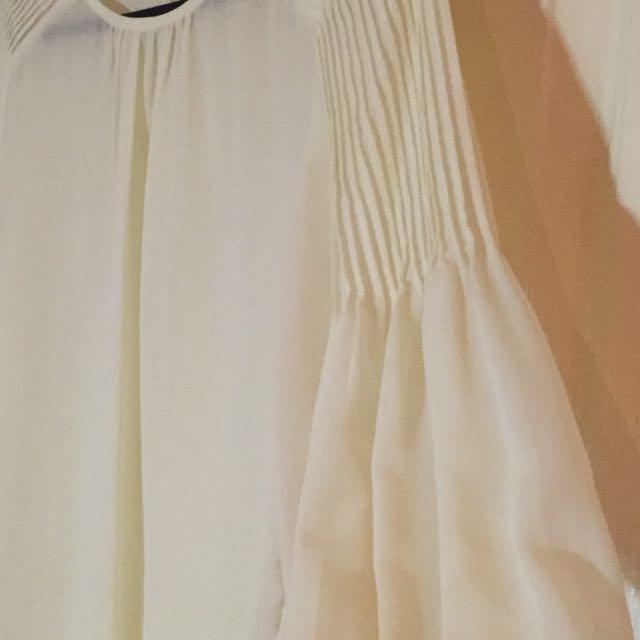 Chiffon White Pleated Blouse
