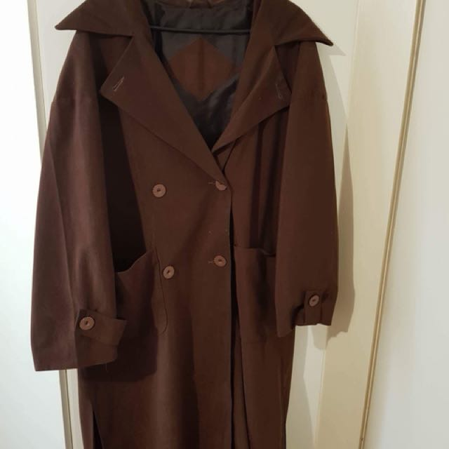 Cool over sized full length coat *choc brown*