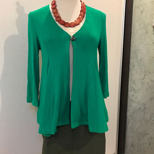 Emerald green cardi with nude tube top and army green skirt