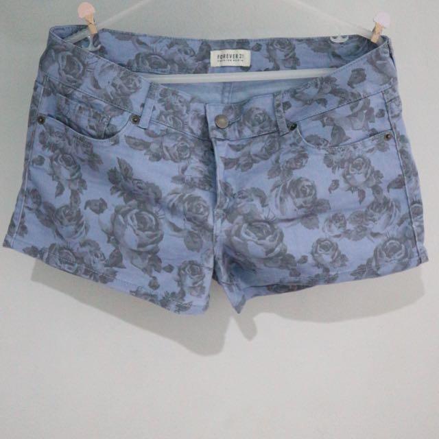 F21 Denim Shorts (Floral)