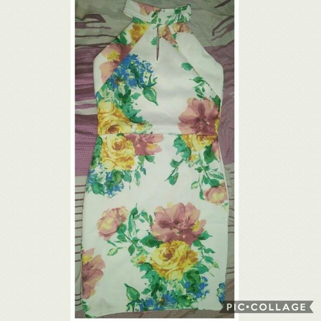 Floral Halter Bodycon Dress