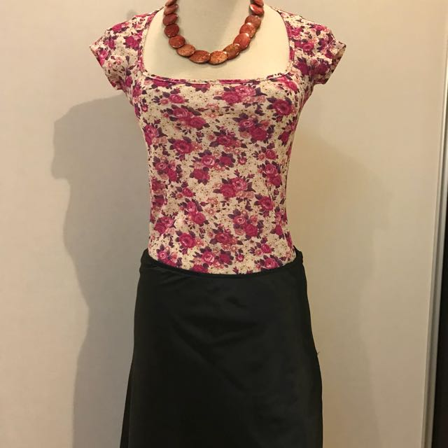 Flowery top with satin Aline skirt (size M)