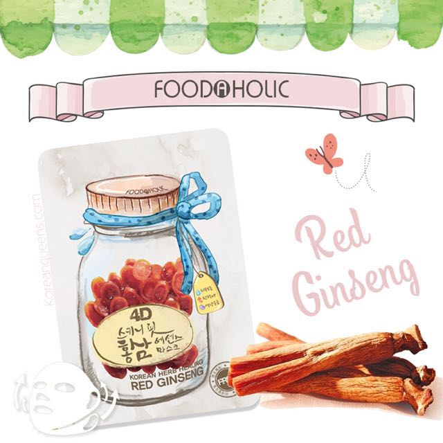 Foodaholic 4d sheet mask in Red Ginseng