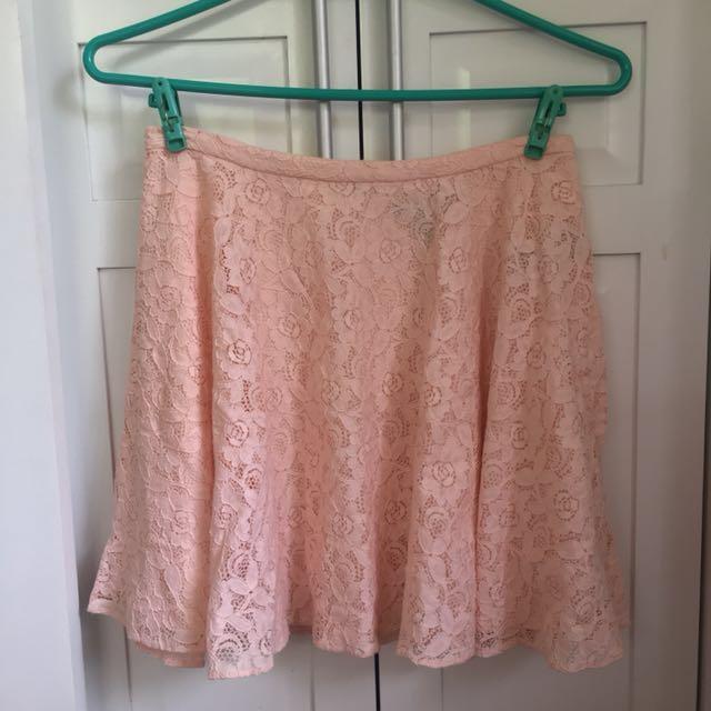 FOREVER 21 Peach Laced Skater Skirt