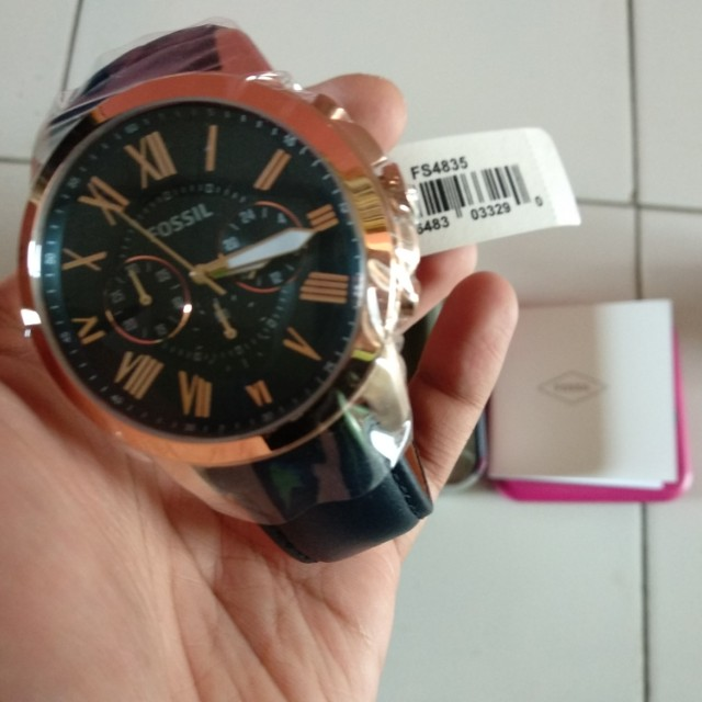 Fossil FS4835 Grant Chronograph Navy Leather Strap