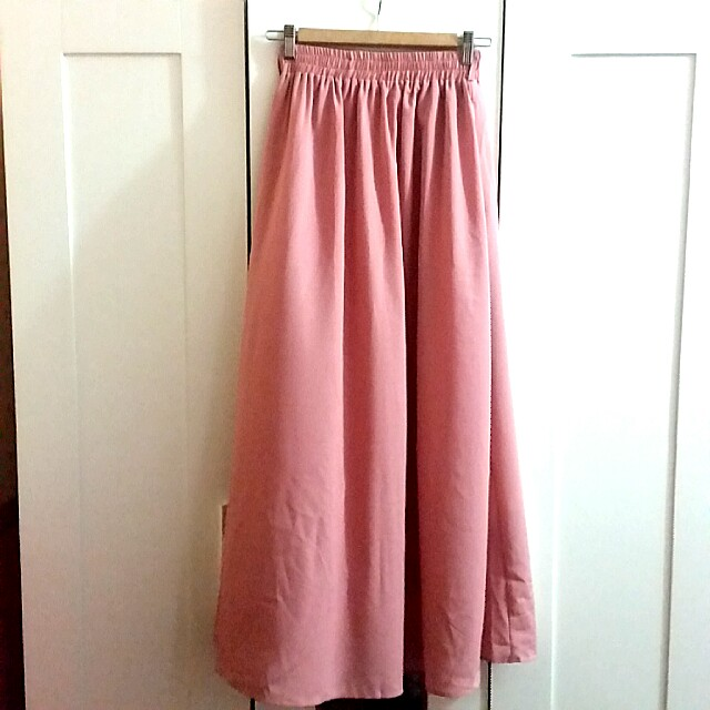 [FREE POS SM] DUSTY PINK LONG SKIRT