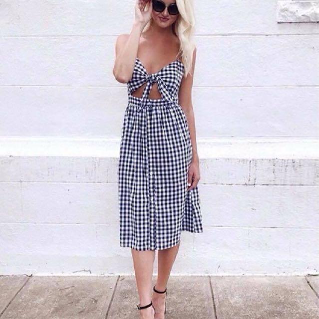 Gingham Tie/Skirt Dress