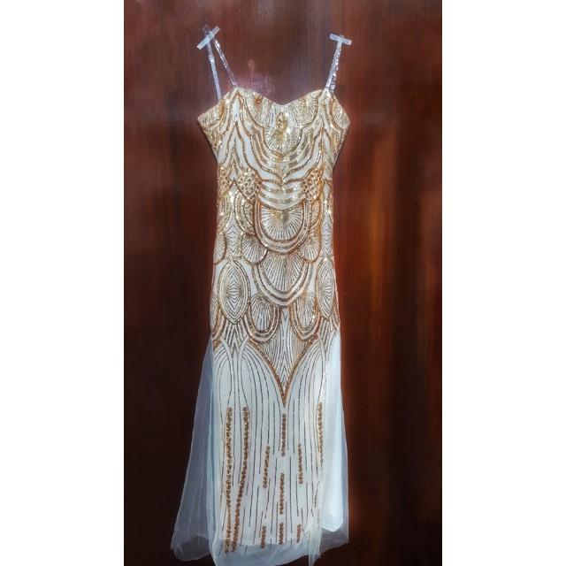 Great Gatsby / Flapper Sequin Gold Glitter Evening Gown, Women\'s ...