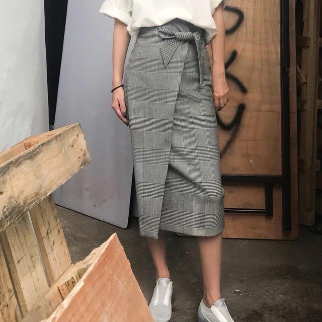 Grey checked tie waist midi skirt