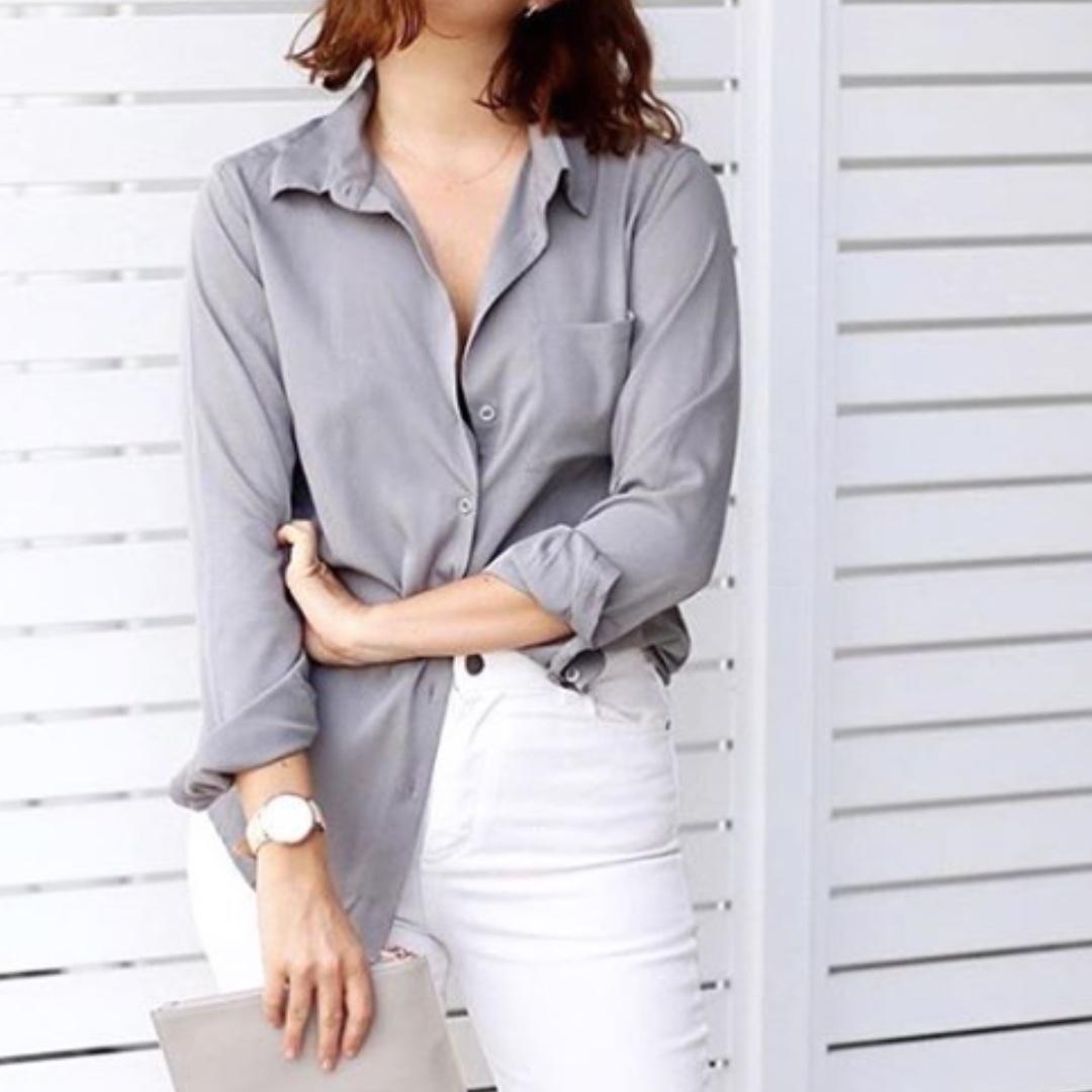 Grey Silk Shirt XS