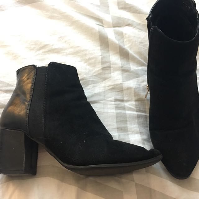 Half leather boots size 7