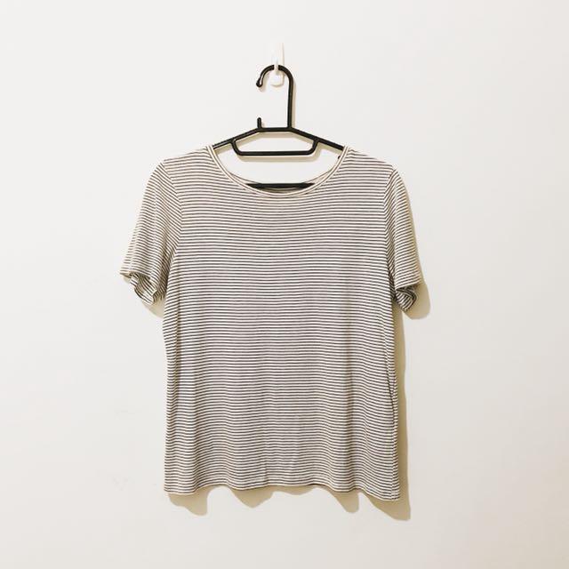 H&M 無印良品風 橫條 春夏 棉 上衣 短袖 簡約 百搭 大學生 購於匈牙利 H&M 實體店