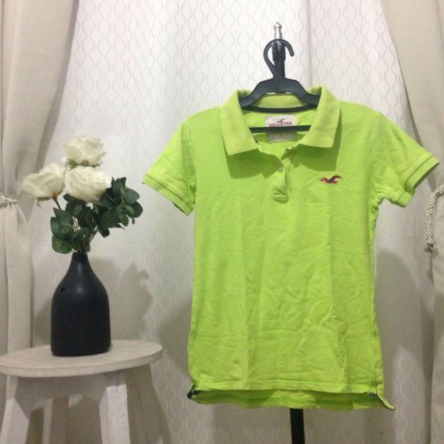 Hollister Yellowgreen Collared Shirt