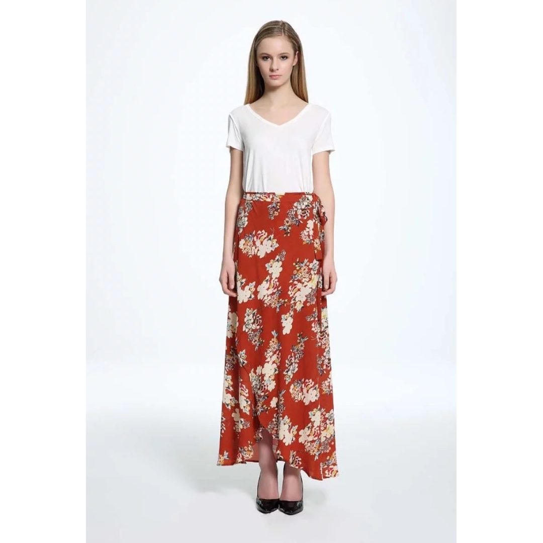 233ea6cedfcb INSTOCK / FLORAL WRAP MAXI SKIRT IN BROWN, Women's Fashion, Clothes ...