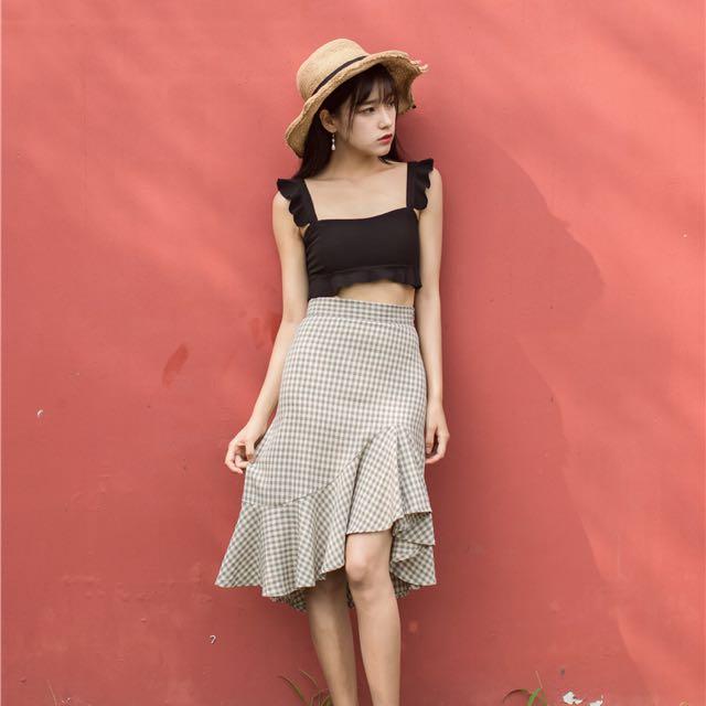 Irregular fishtail skirt