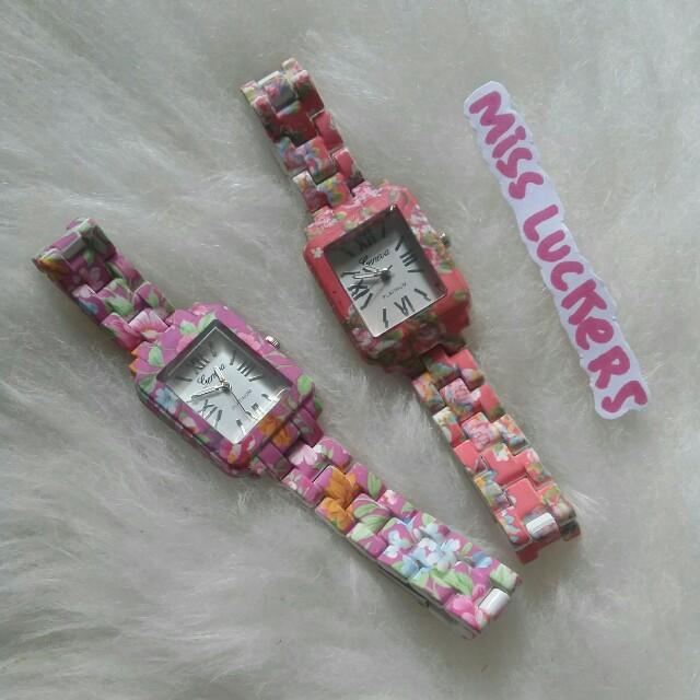 jam tangan genva floral / bunga-bunga