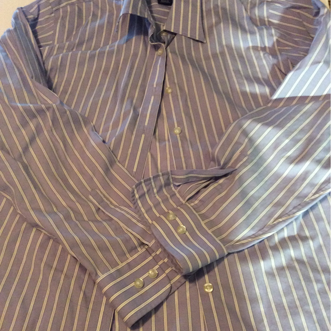 Land's End blue and white striped shirt size 10