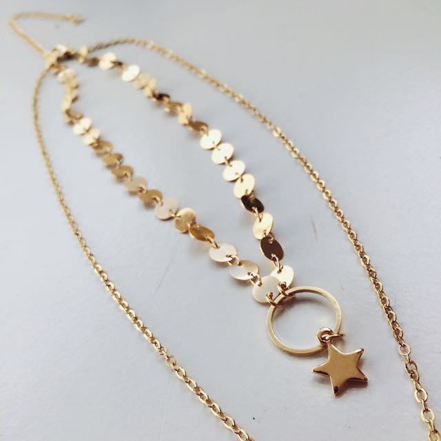 Layered Choker Star Necklace (Gold)