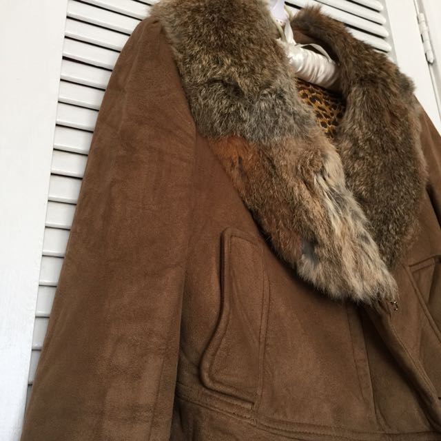 Leather suede jacket - Brown, size 8-10