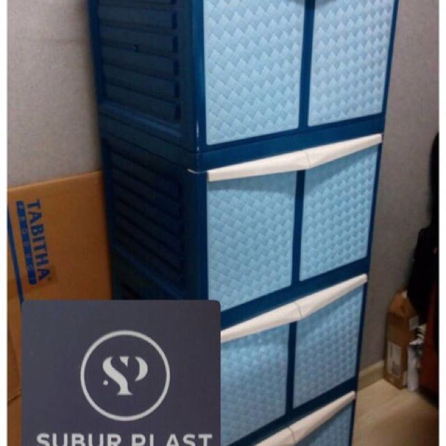 Lemari plastik lemari laci lemari serbaguna anyaman mini 4