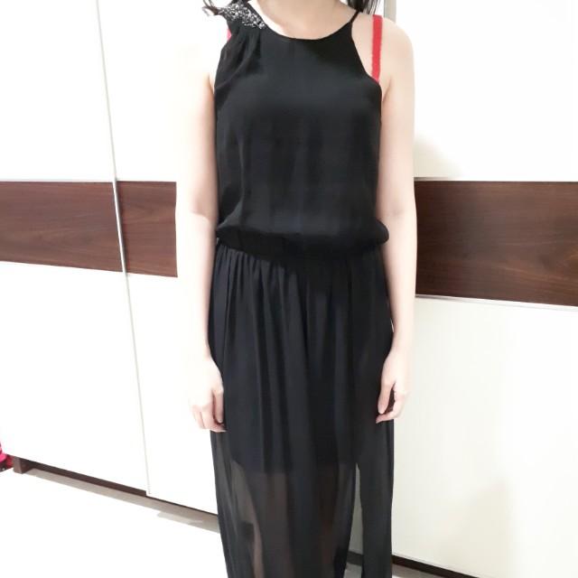 Long dress zara hitam