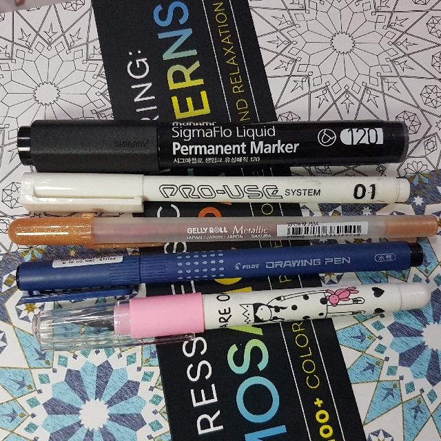 Lot of 5 Pens - Pigment Pens, Fountain Pen, Permanent Marker