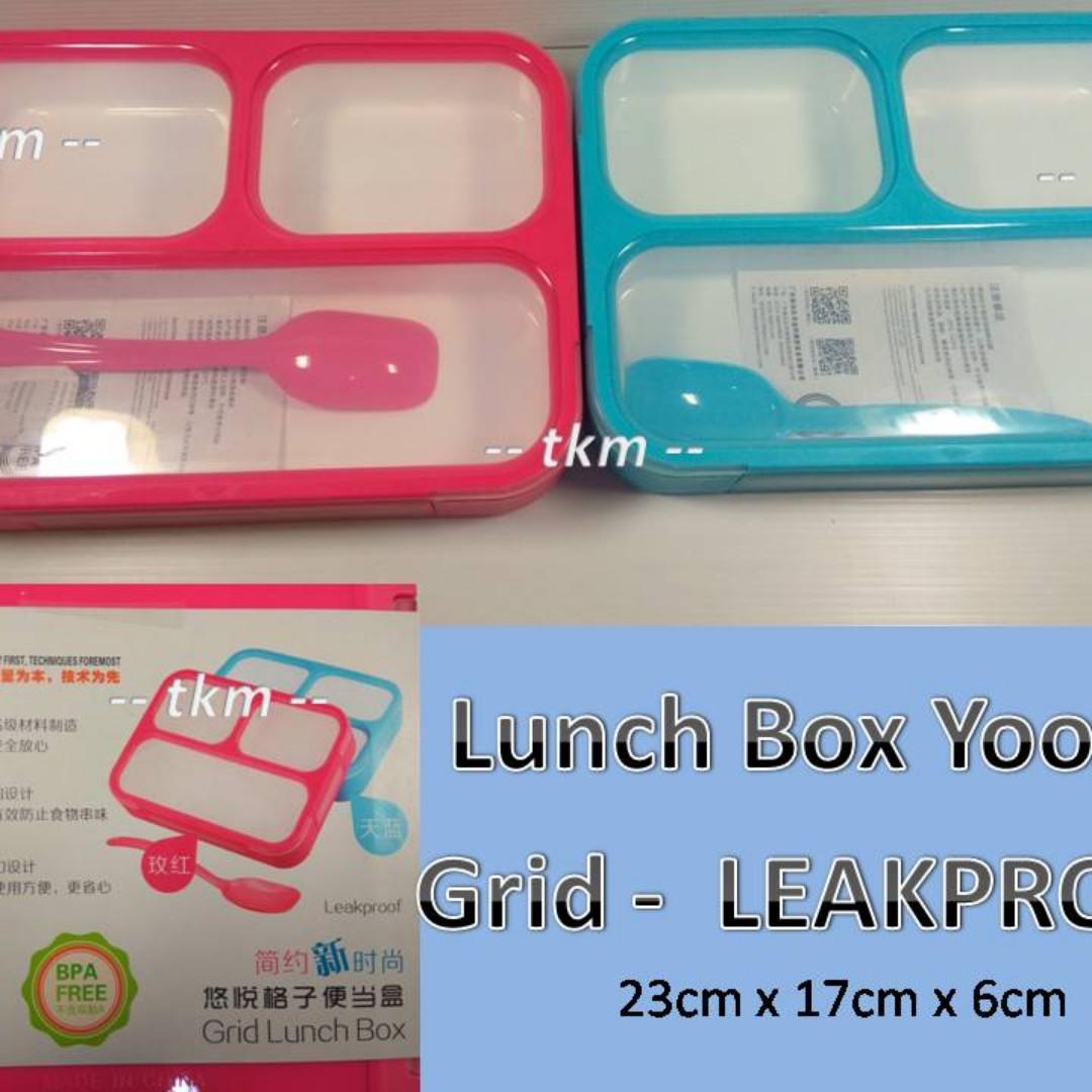 Lunch Box Yooyee Sekat 3 Grid Kotak Makan Anti Tumpah Bpa Free Kitchen Appliances On Carousell
