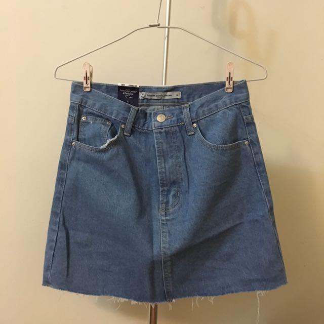 基本百搭修身牛仔短裙#淺藍M