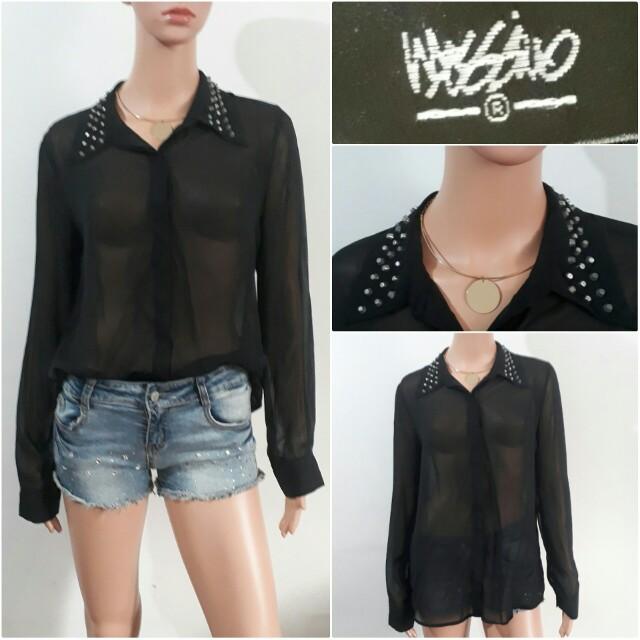 (M) Mossimo black sheer top