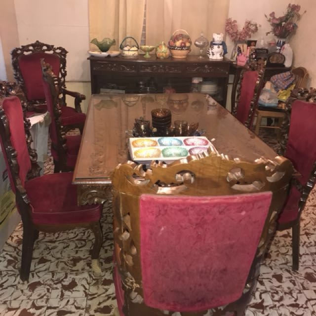 Narra Dining Set - 6 Chairs, Antiques, Antique Furniture on Carousell