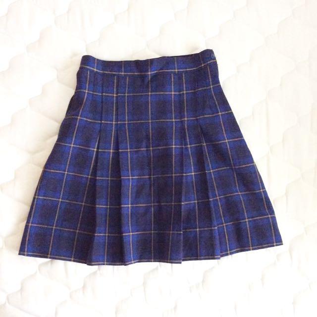 Navy Tartan Plaid Skirt