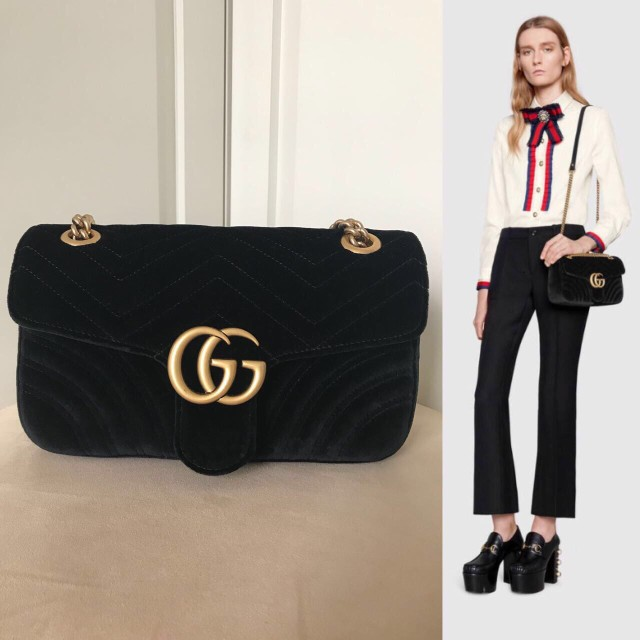 10e8160f9274 New Gucci marmont black velvet small 26cm with db copy rec ONLY 26,5jtn  nett, Luxury, Bags & Wallets on Carousell