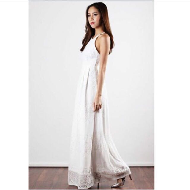 Oh Vola White Floral Prom Dress, Women\'s Fashion, Clothes, Dresses ...