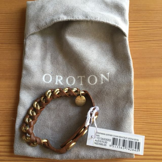 Oroton intertwine leather chain bracelet