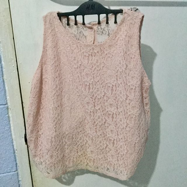 Pink Lace Loose Semi-Cropped Top Free size