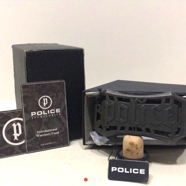 POLICE ACCESSORIES 金屬扣環真皮皮帶
