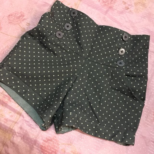 Polka dots high waist shorts