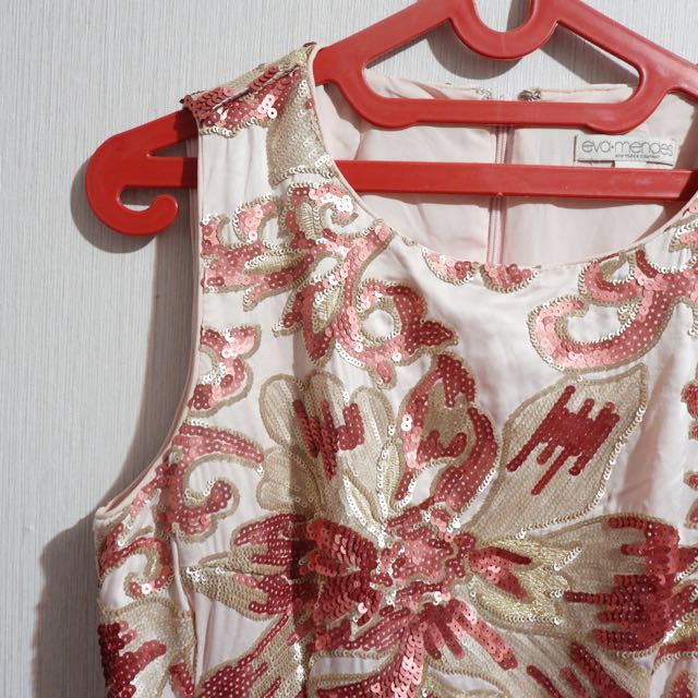 Premium Peach Midi Dress Sequin Eva Mendez