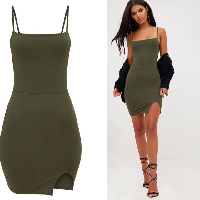 Thing Square Little Pretty Dress Khaki Neck Split Side Bodycon TclF1KJ