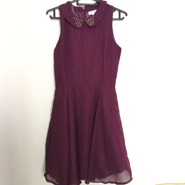 Purple Embellishment Skater Dress