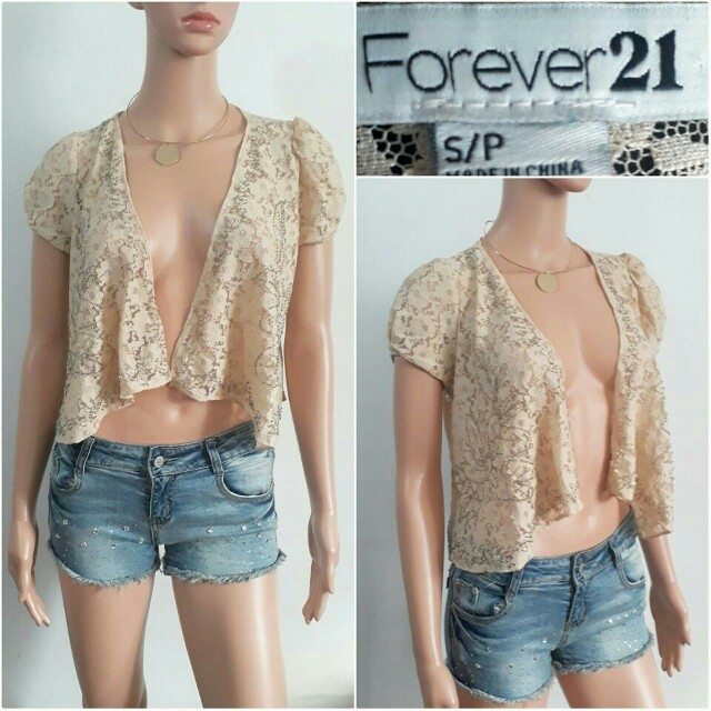 (S) Forever 21 beaded laced blazer