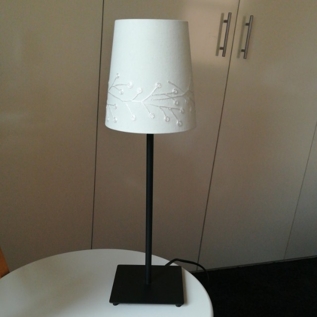 Small Cotton & Metal Lamp with globe