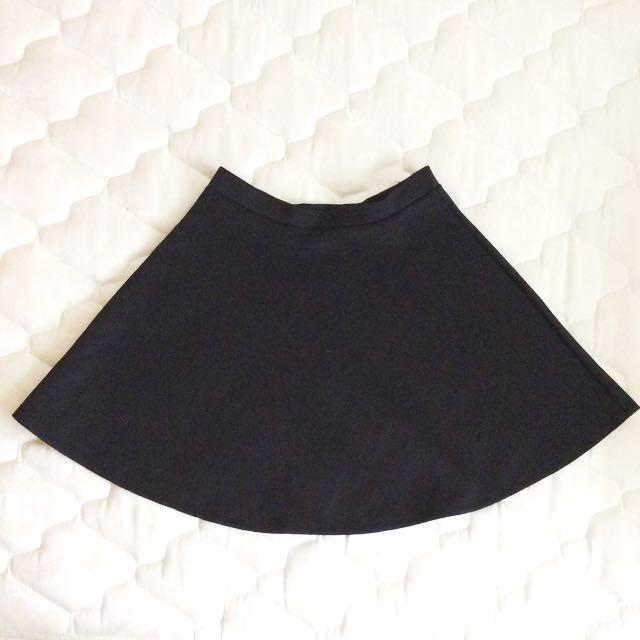 Smooth Black Skater Skirt