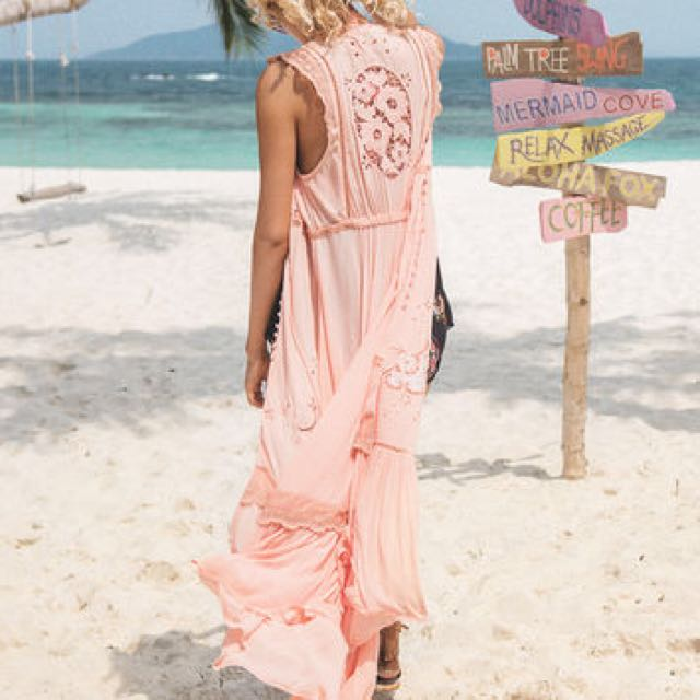 SPELL Isla Bonita Duster Dress in Peach - Size Small (altered to fit XS)
